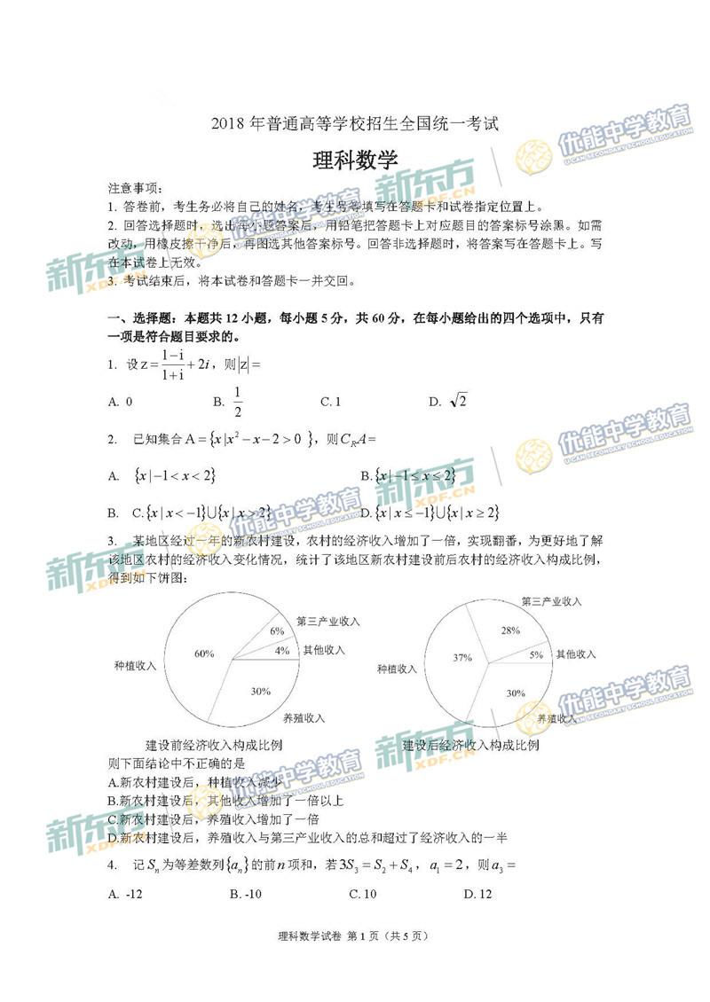 2018全国卷1高考数学理试题(济南新东方)