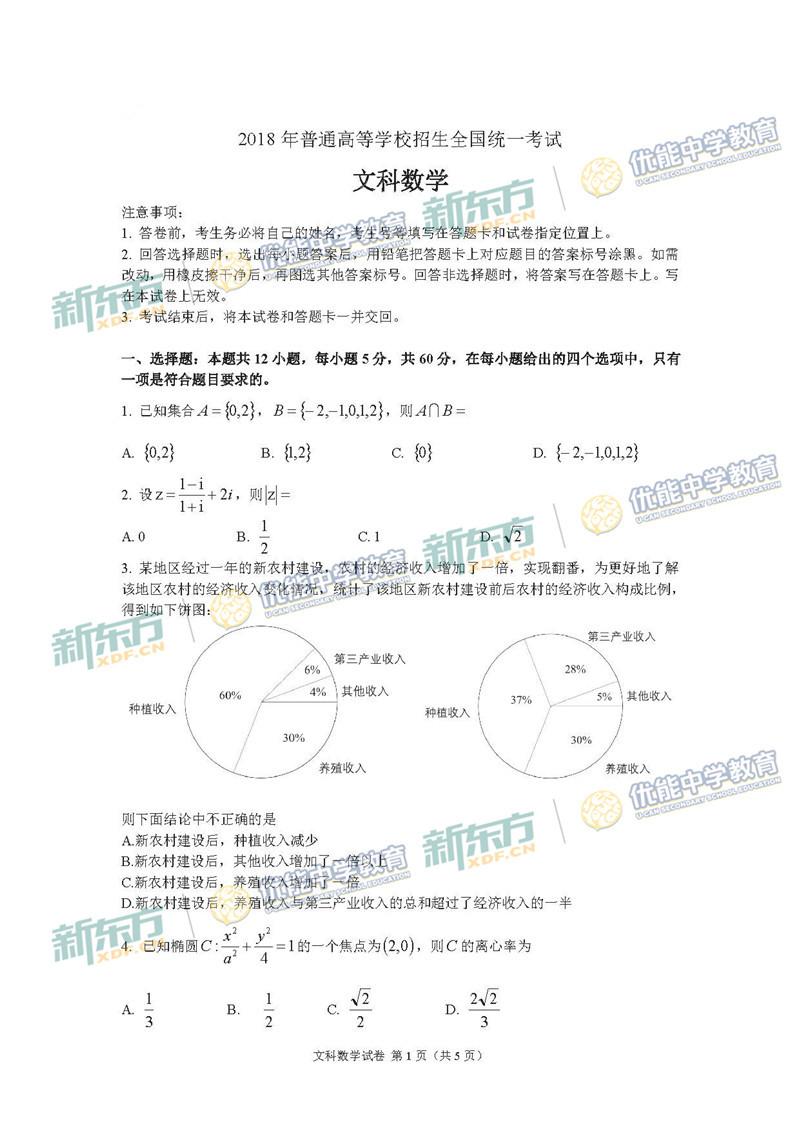 2018全国卷1高考数学文试题(济南新东方)