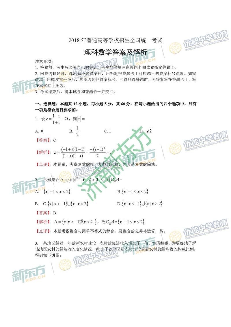 2018全国卷1高考数学理试题及答案解析(济南新东方)