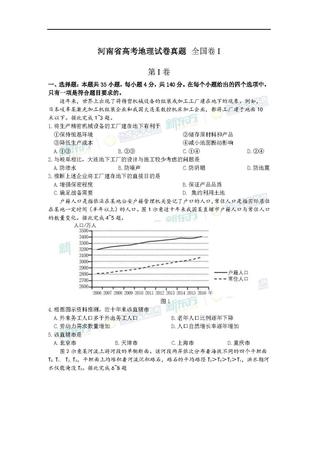2018全国卷1高考地理试题(郑州新东方)