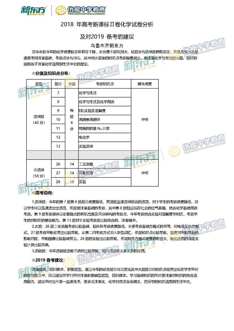 2018全国卷2高考化学点评及备考建议(乌鲁木齐新东方)