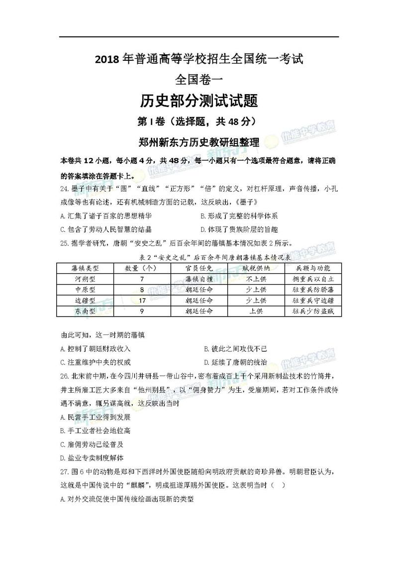 2018全国卷1高考历史试题及答案解析(郑州新东方)
