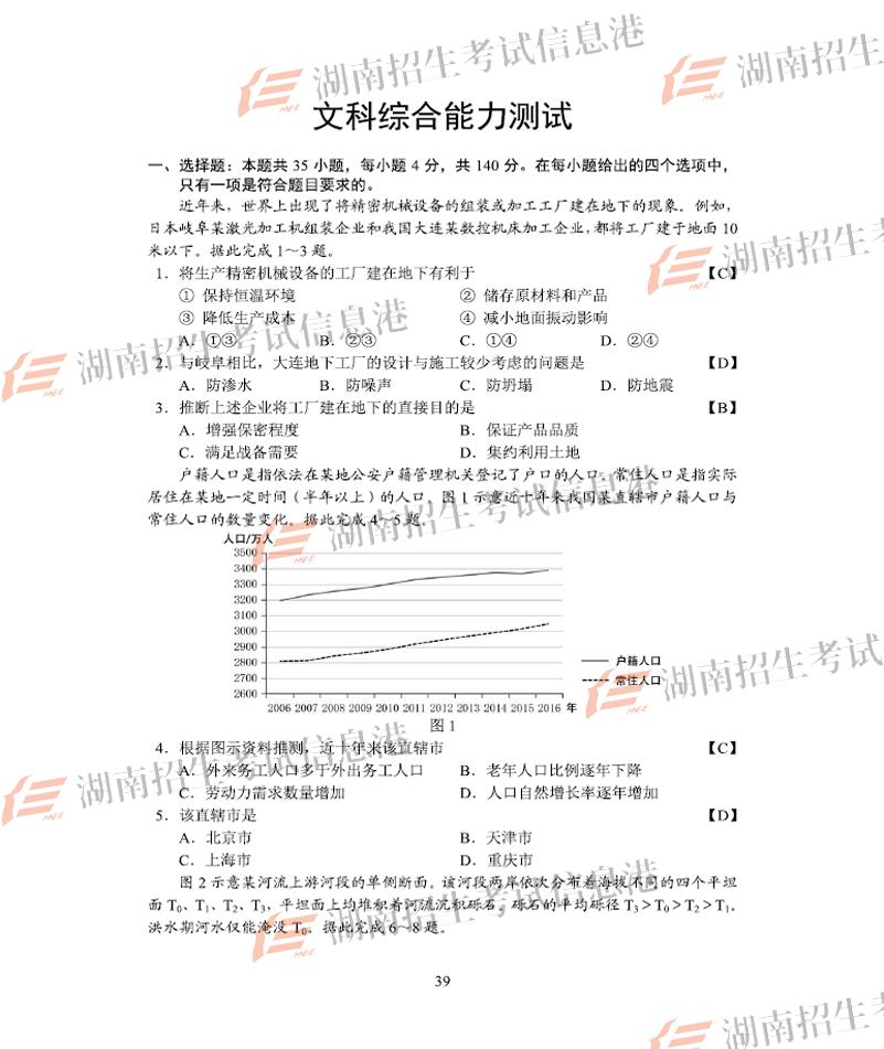 2018全国卷1高考文综试题(网络版)
