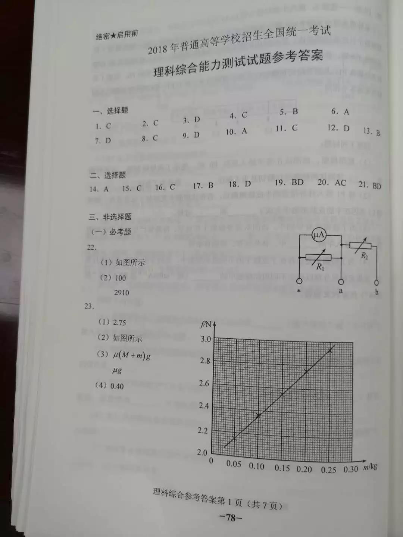 2018年高考全国卷2理综试题答案(网络版)