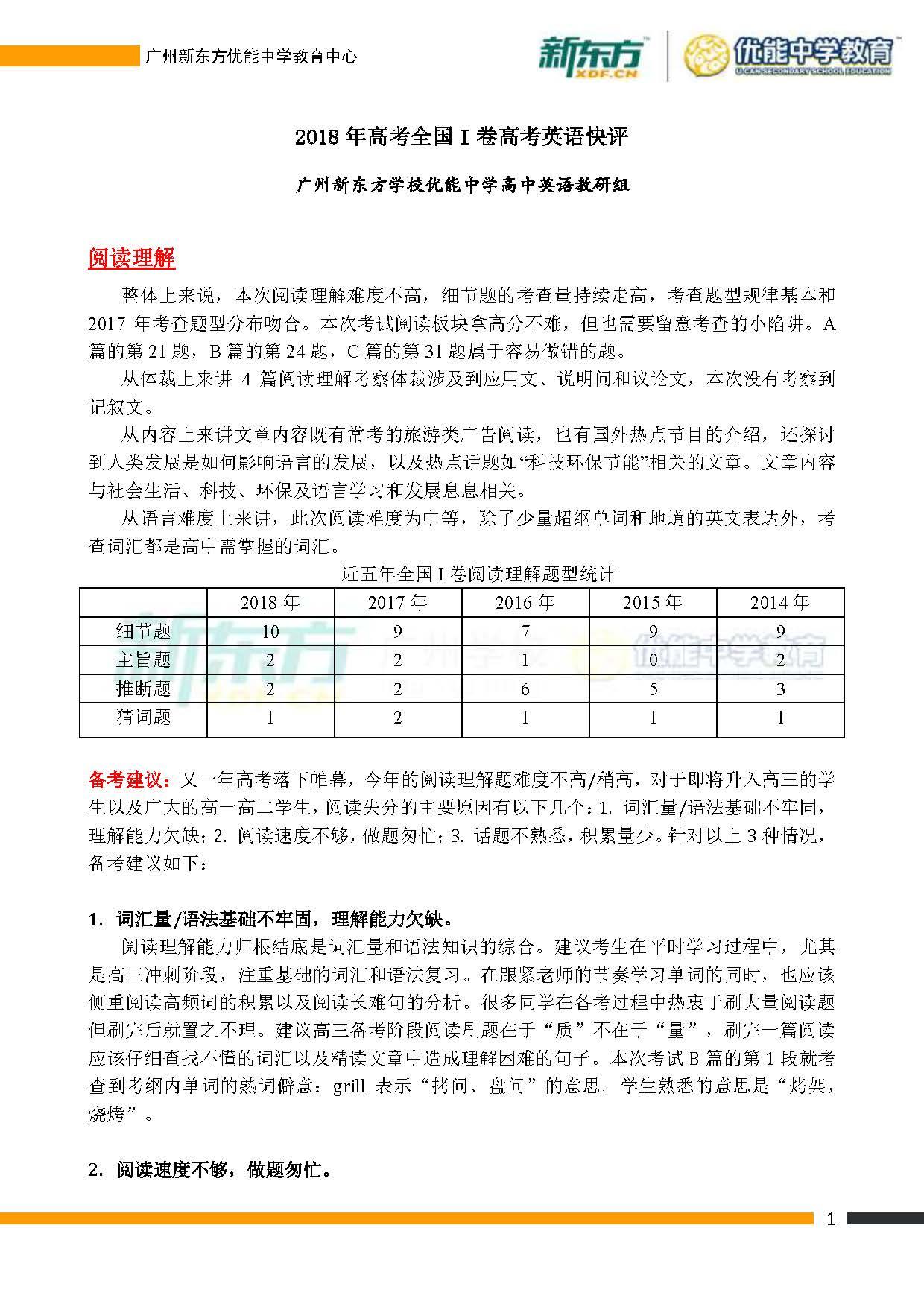 2018全国卷1高考英语点评(广州新东方)