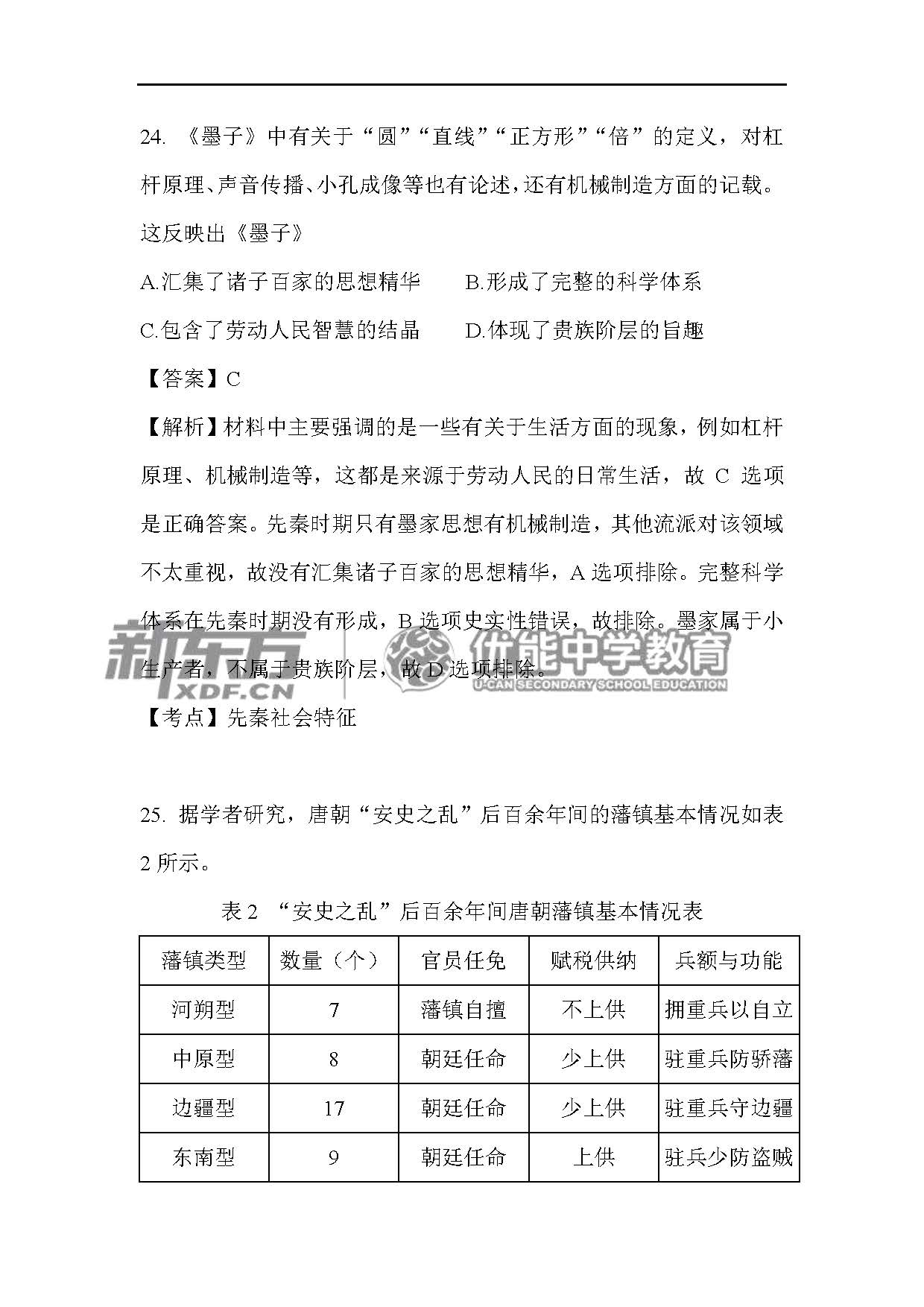 2018全国卷1高考历史答案解析(长沙新东方)