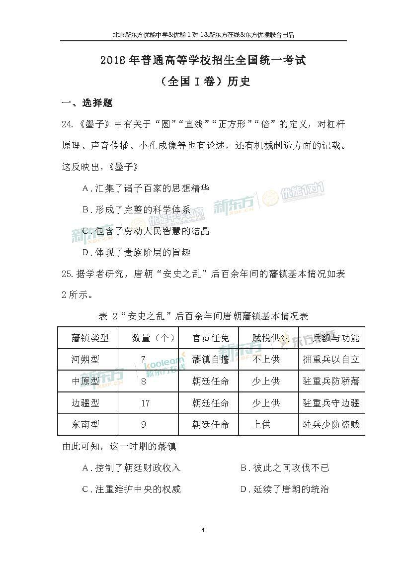 2018全国卷1高考历史答案解析(北京新东方)