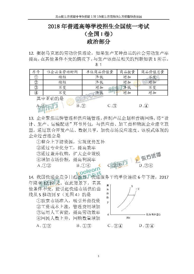 2018高考全国卷1政治答案及解析(北京新东方)