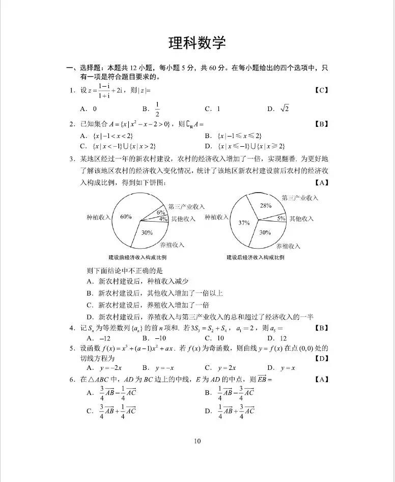 2018全国卷1高考理科数学试题