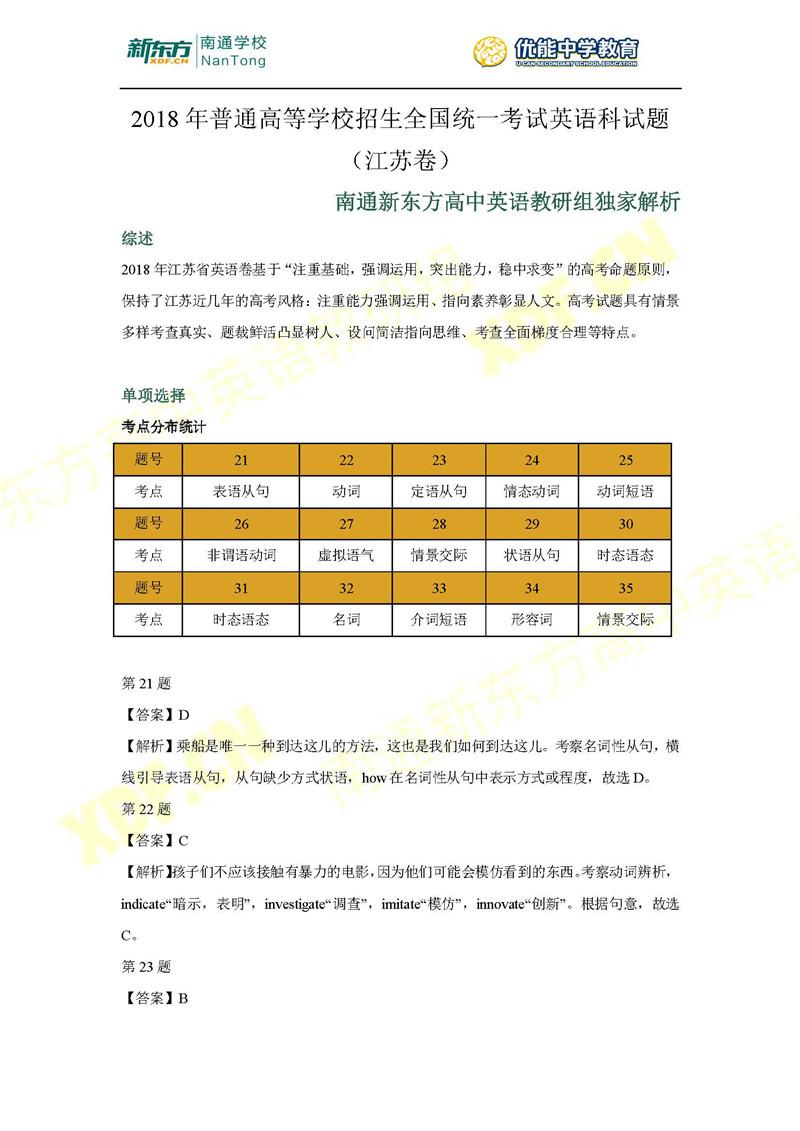 2018江苏高考英语试卷答案解析(南通新东方)