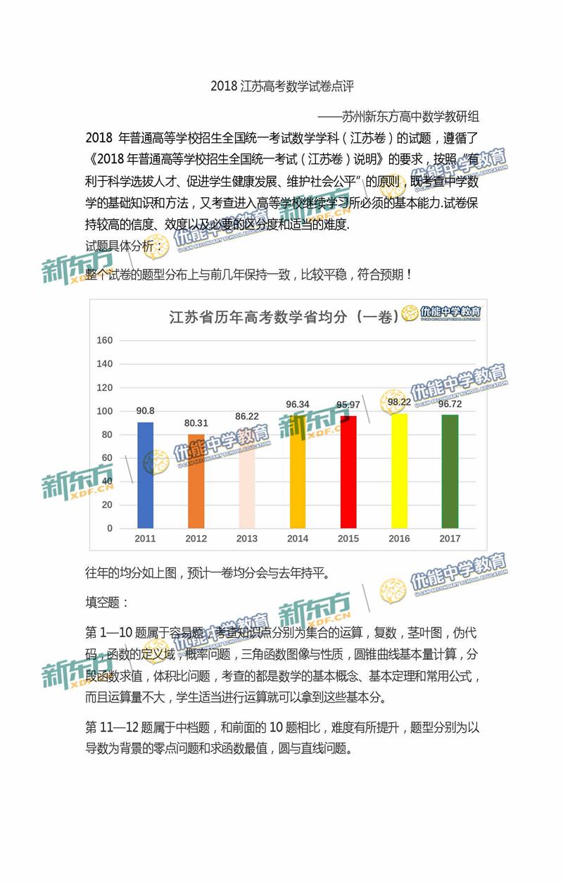2018江苏高考数学试卷整体点评(苏州新东方)
