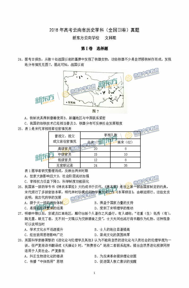 2018高考全国卷3文综历史试卷(云南新东方)