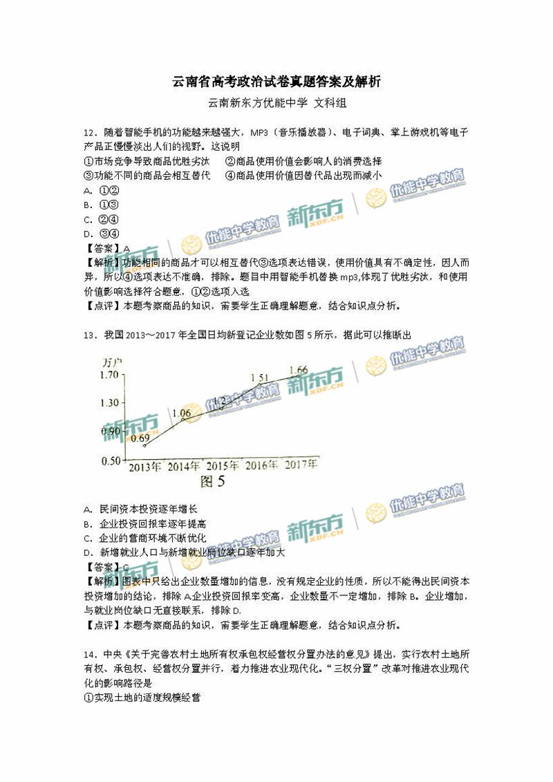 2018高考全国卷3文综政治试卷答案逐题解析(云南新东方)