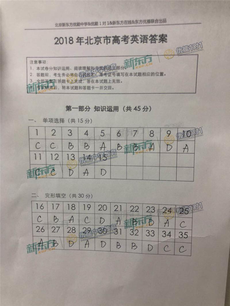 2018北京高考英语试卷答案(新东方简版)