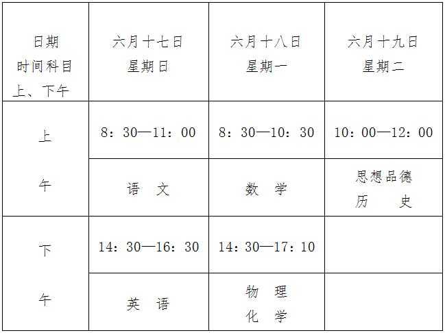 南昌市2018年中等学校招生考试时间安排