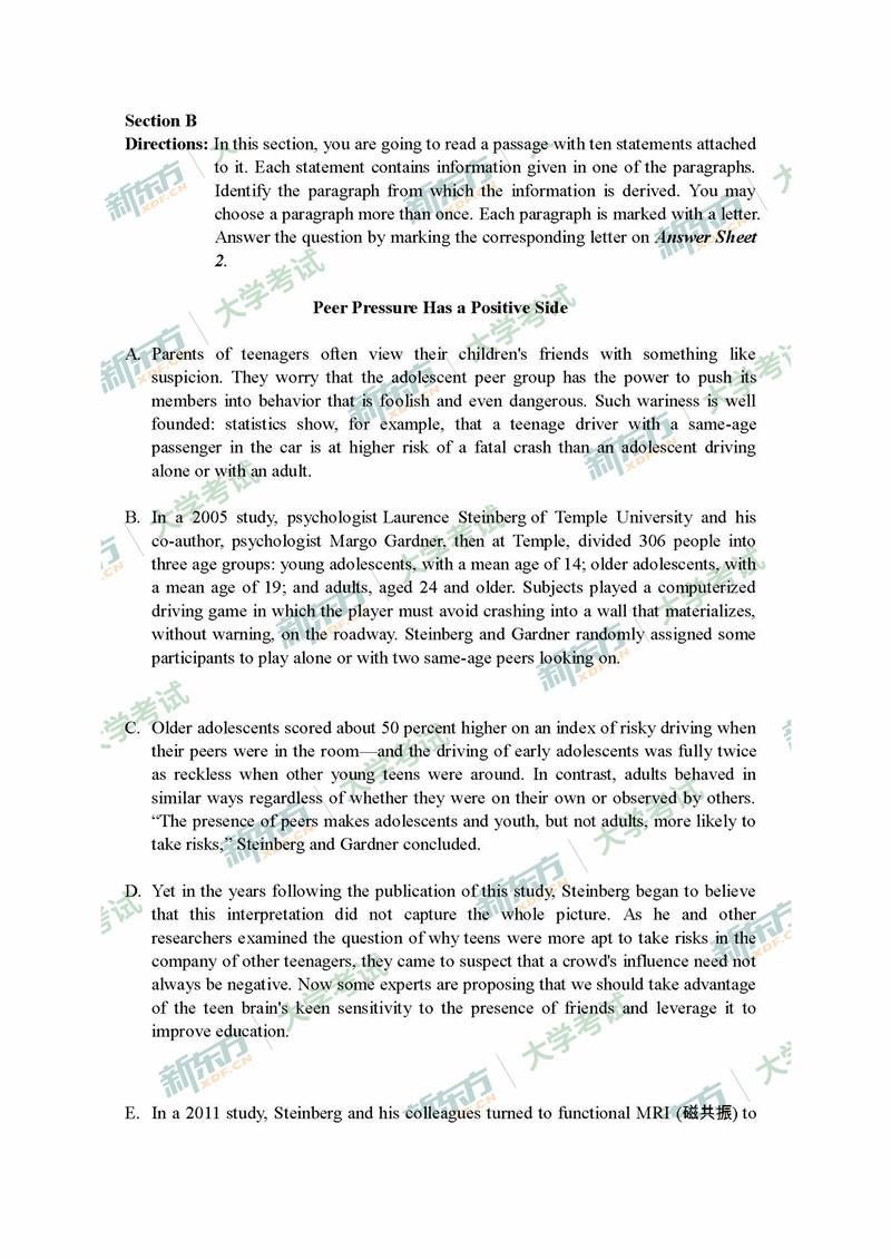 2018年6月大学英语四级真题Section B (新东方)
