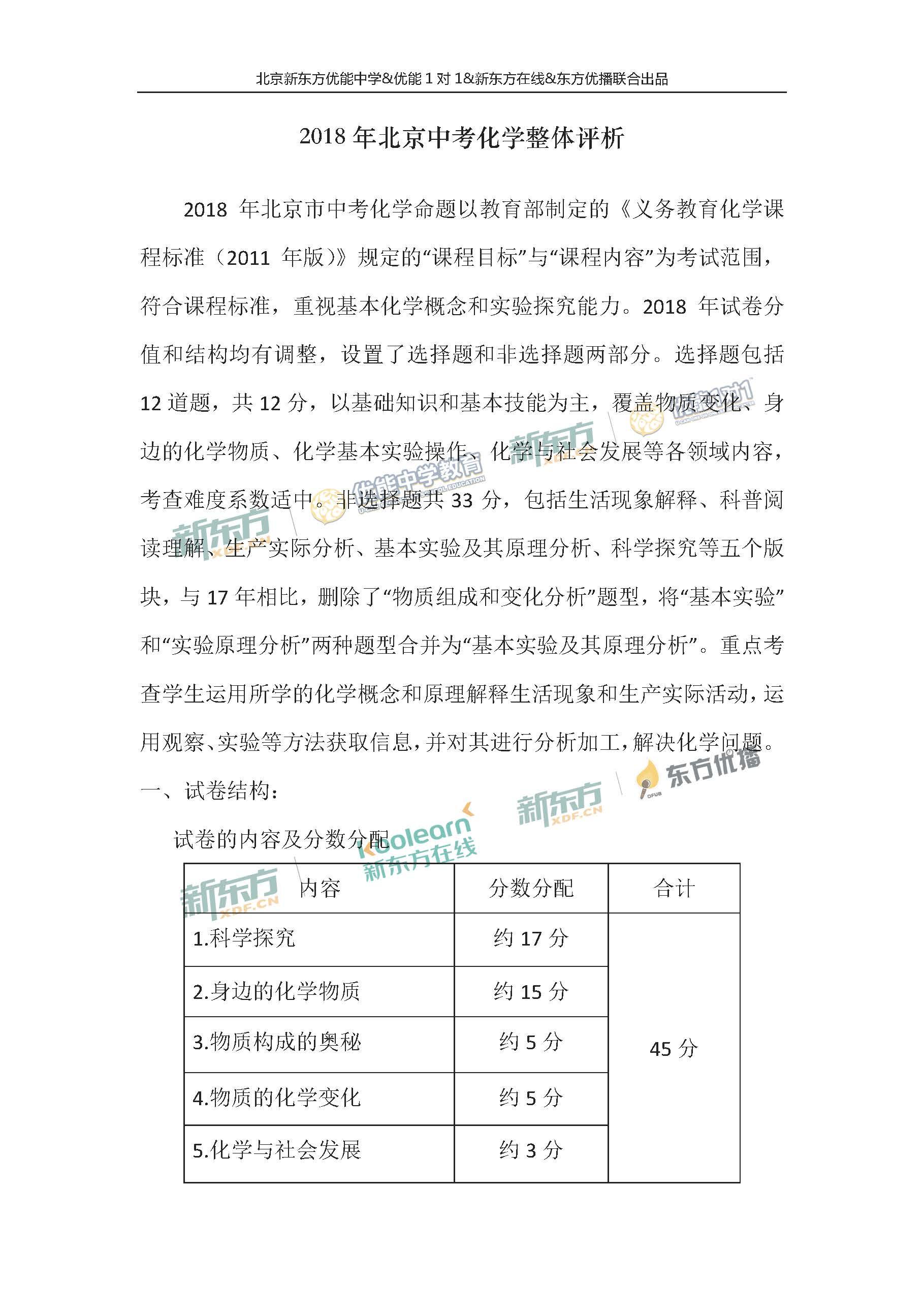 2018北京中考化学试题整体点评(北京新东方)