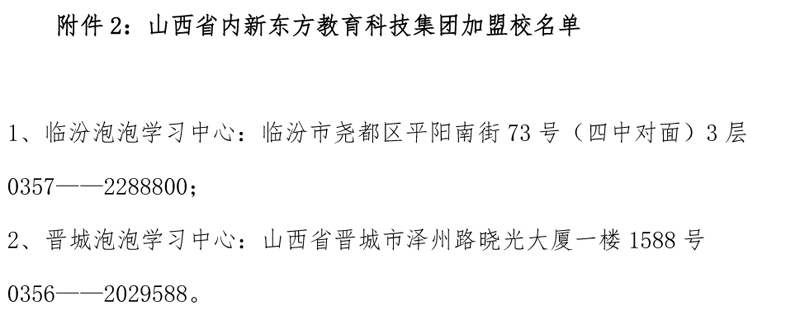 附件2:山西省内新东方教育科技集团加盟校名单