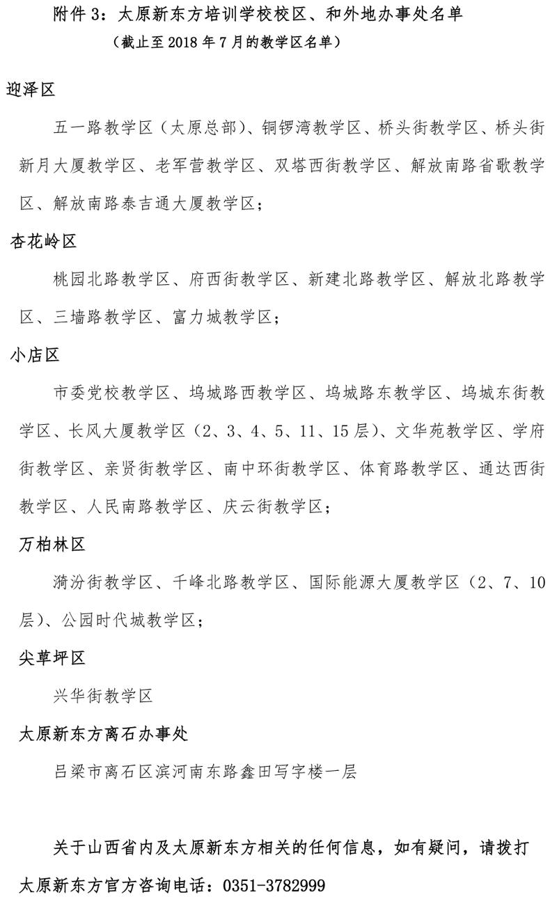 附件3:太原新东方培训学校校区和外地办事处名单