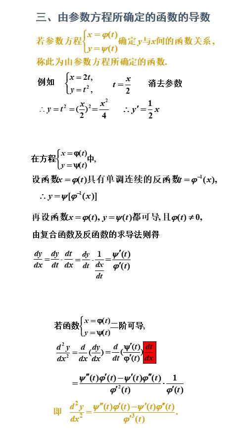 隐函数微分法之由参数方程确认的函数导数