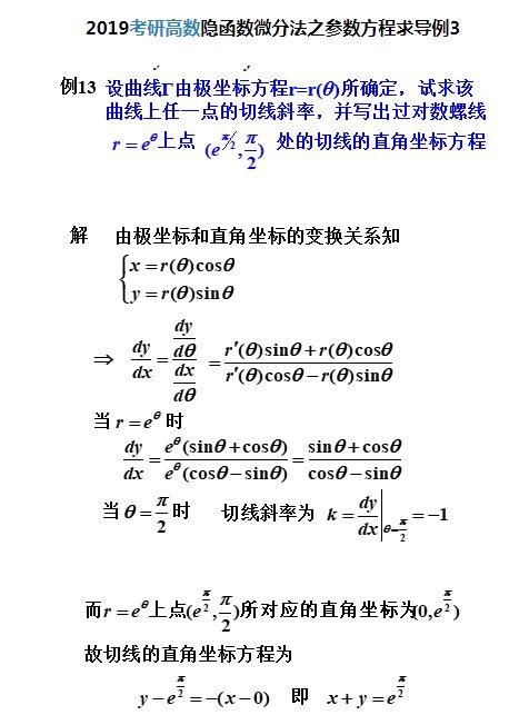 隐函数微分法之参数方程求导(例3)