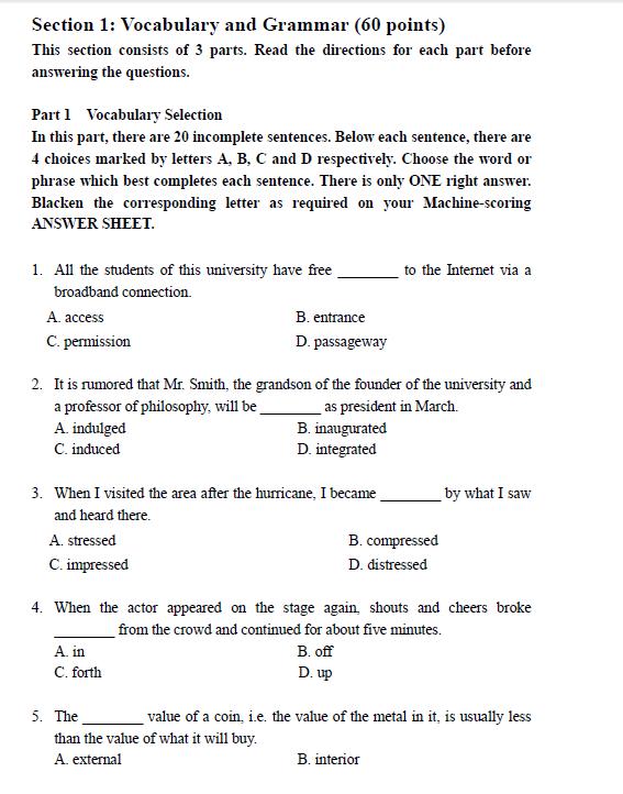CATTI翻译资格(水平)考试二级笔译综合能力样题