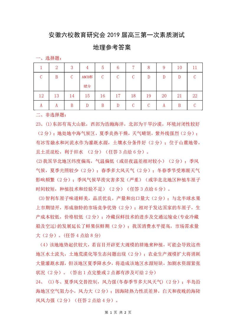 2019年安徽六校高三上学期第一次素质测试地理试题答案