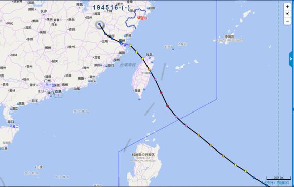 1945年以来所有登陆台湾的台风路径统计