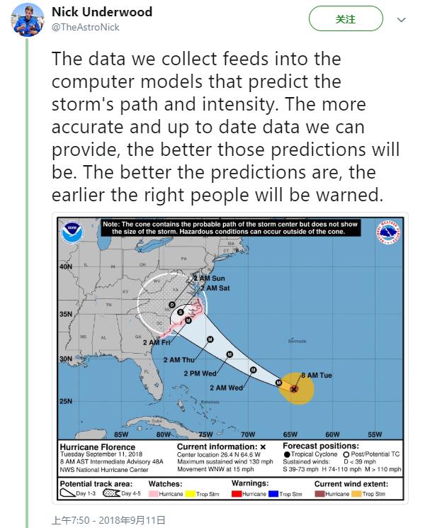 """美国猎户座飞机NOAA闯入""""佛罗伦萨""""台风眼"""