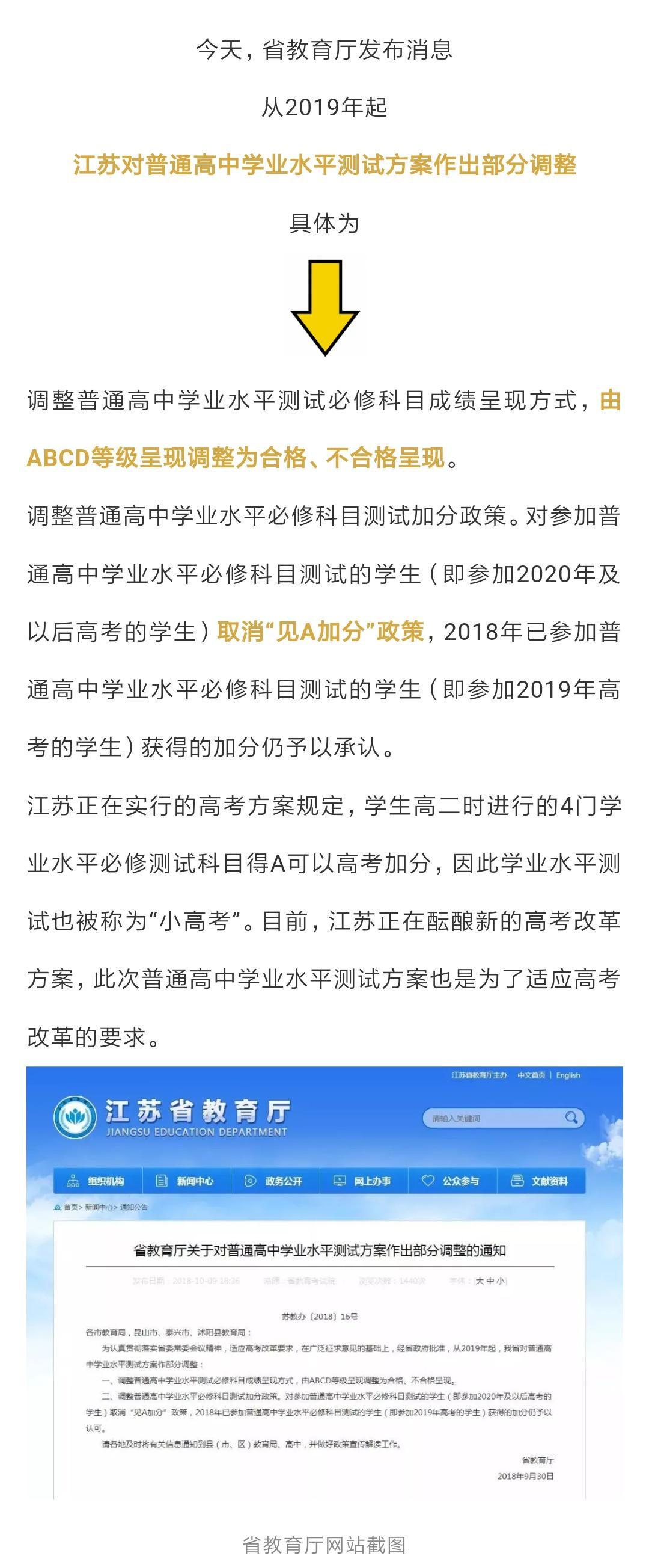 江苏教育厅正式发布高中小高考测试方案!