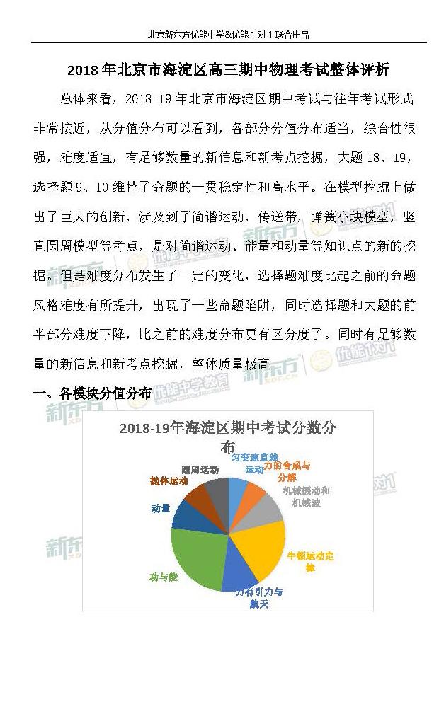 2018年北京市海淀区高三期中物理考试整体评析(新东方版)