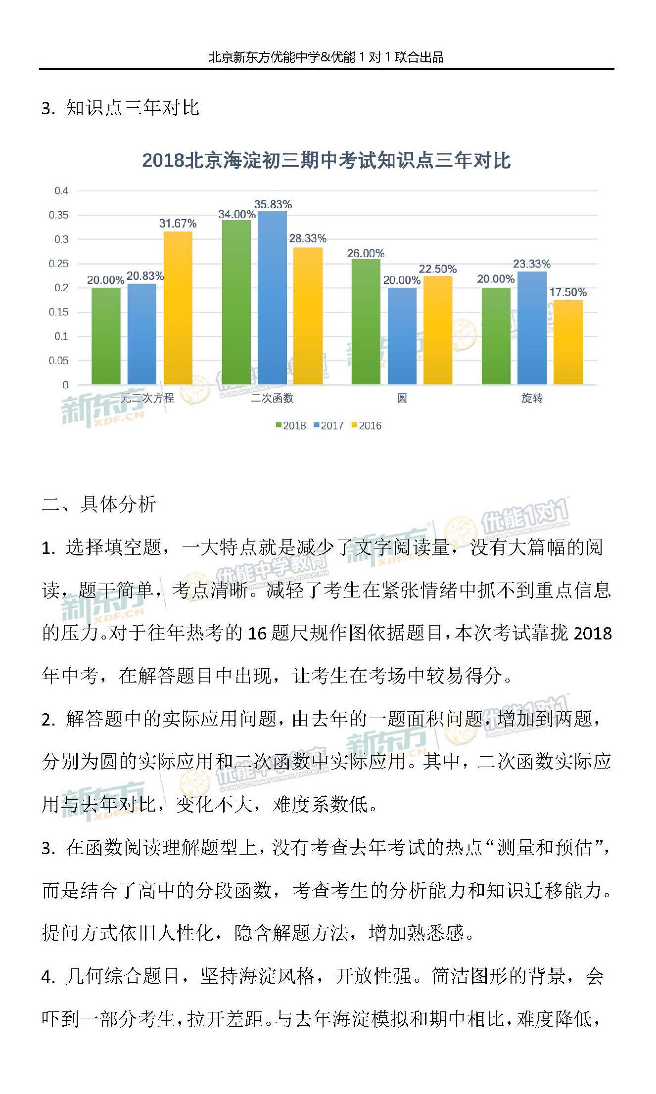 2018-2019学年北京海淀初三期中数学试题整体评析