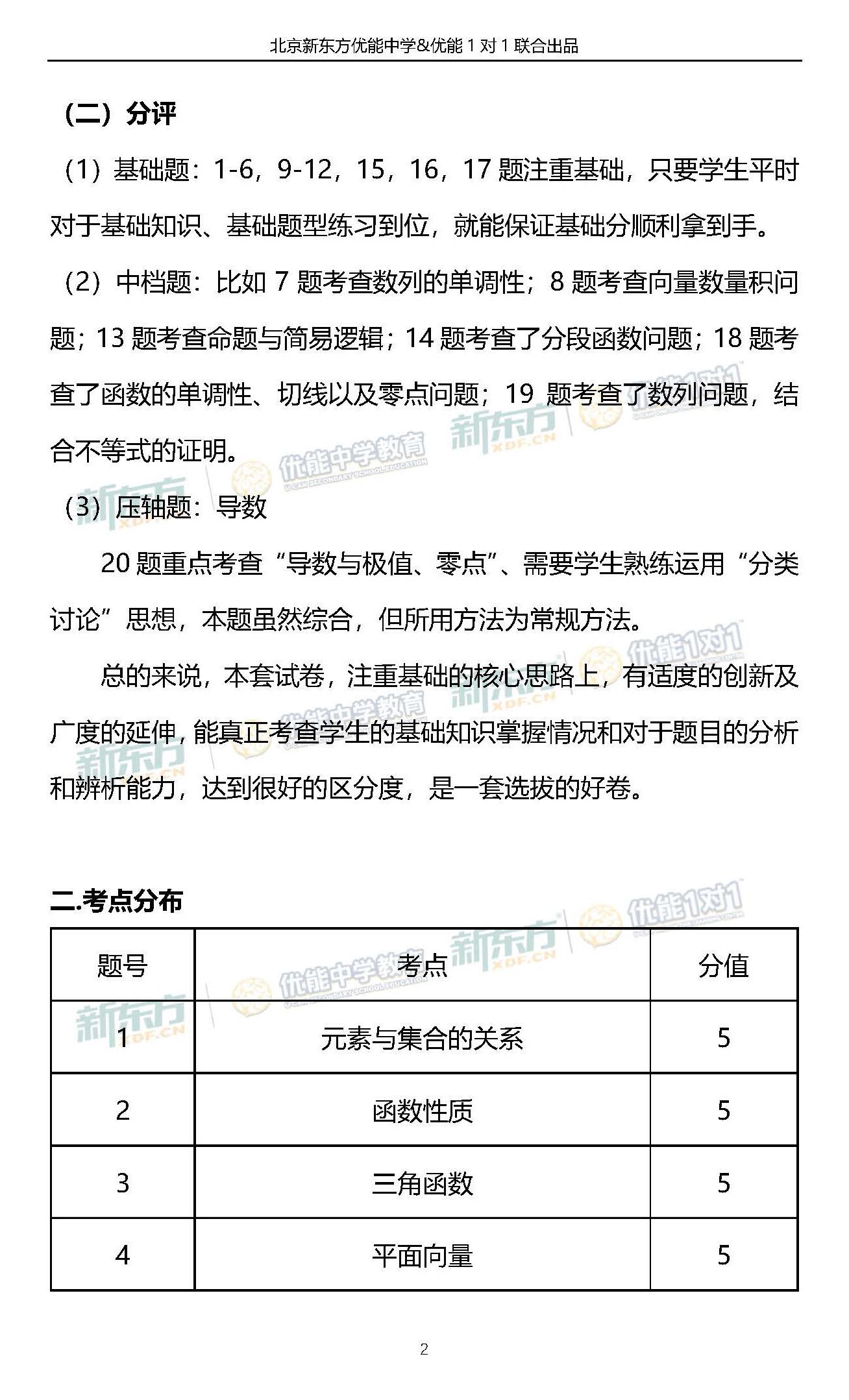 2018年北京市海淀区高三期中数学文考试整体评析(新东方版)