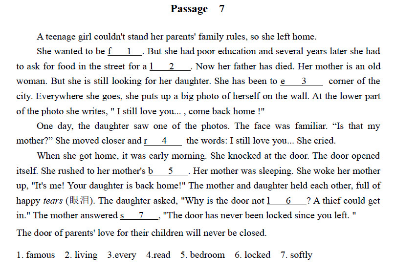 中考英语首字母填空训练进阶题系列二:passage 7