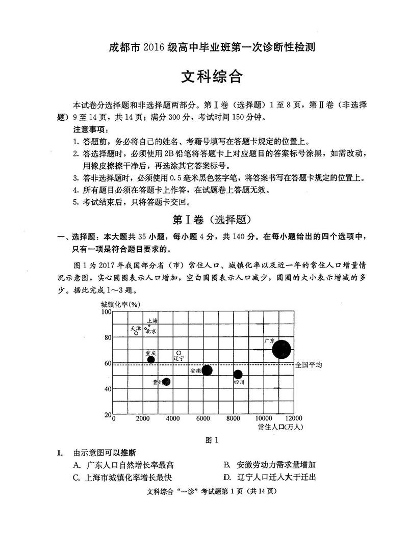2019届成都一诊文综试卷及答案 完整答案