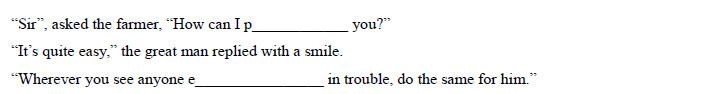 中考英语首字母填空训练提高题系列一:passage 26