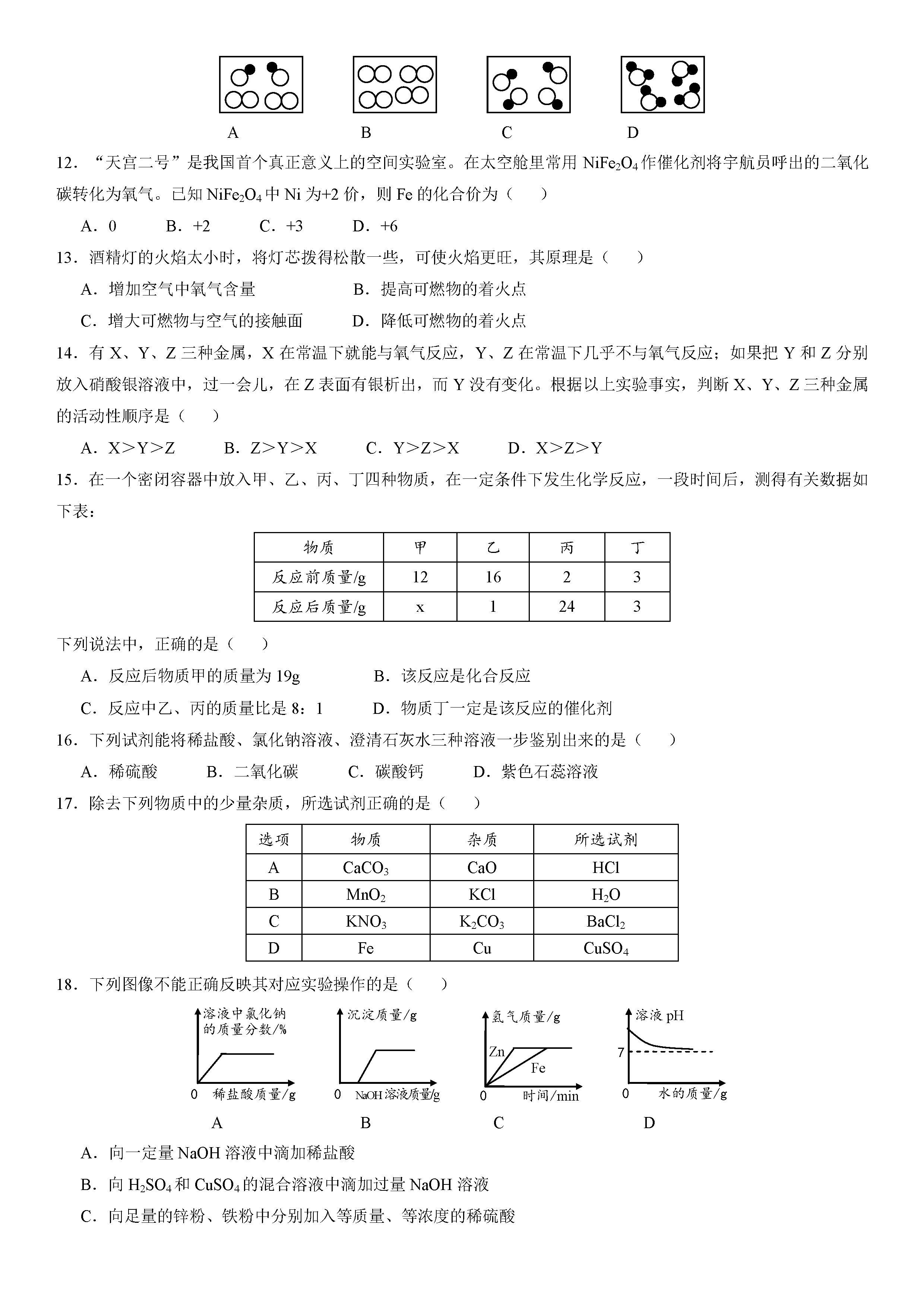2018西藏中考化学试题及答案解析