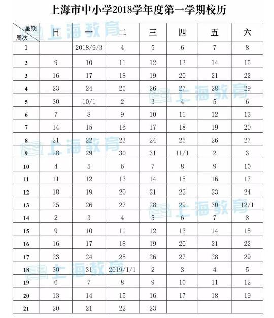 2019上海中小学寒假放假时间