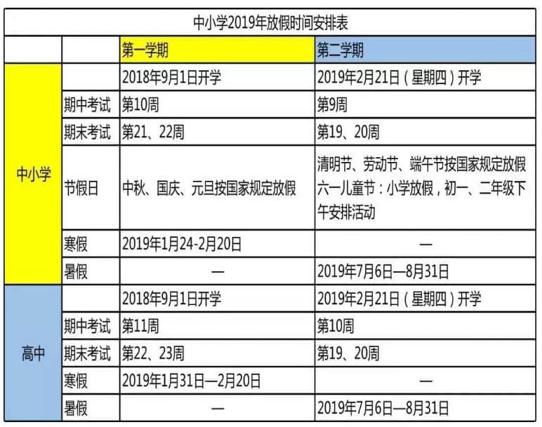 2019山西中小学寒假放假时间公布(含校历)