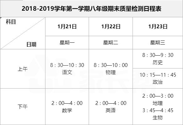 2019福州初二初三一检考试时间安排表出炉