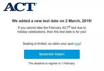 ACT国际考区新增3月2日考位