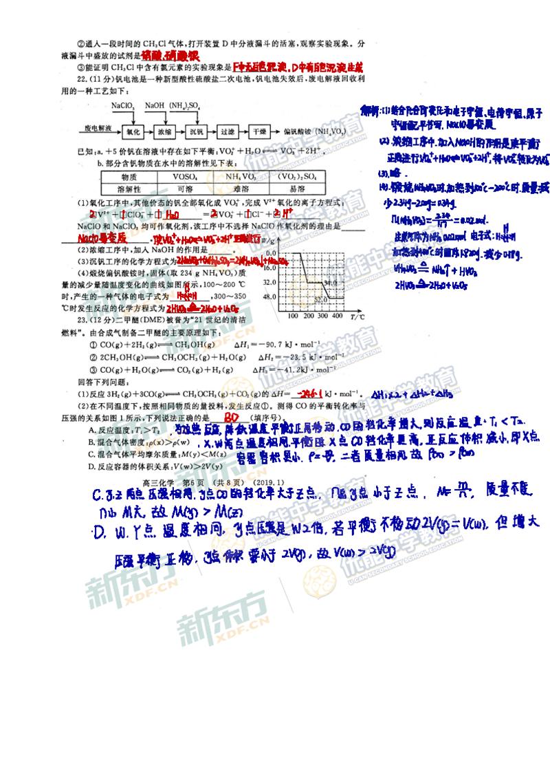 2019洛阳高三一练化学试卷及答案解析(新东方)
