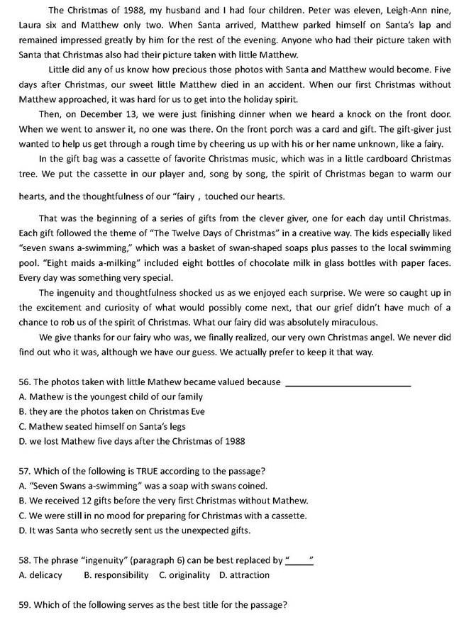 高中英语阅读理解100篇:高考英语阅读理解题目附答案(58)