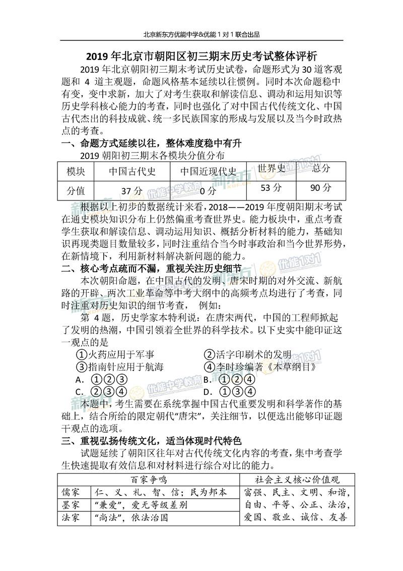 2018-2019学年北京朝阳初三期末历史试题整体评析