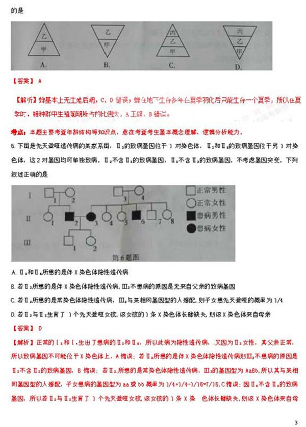 2016年浙江卷高考生物真题及答案