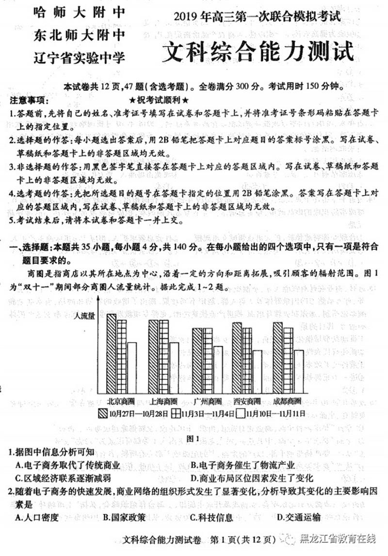 2019山东潍坊一模高三文综试卷及答案