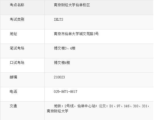 雅思考场新增--南京财经大学