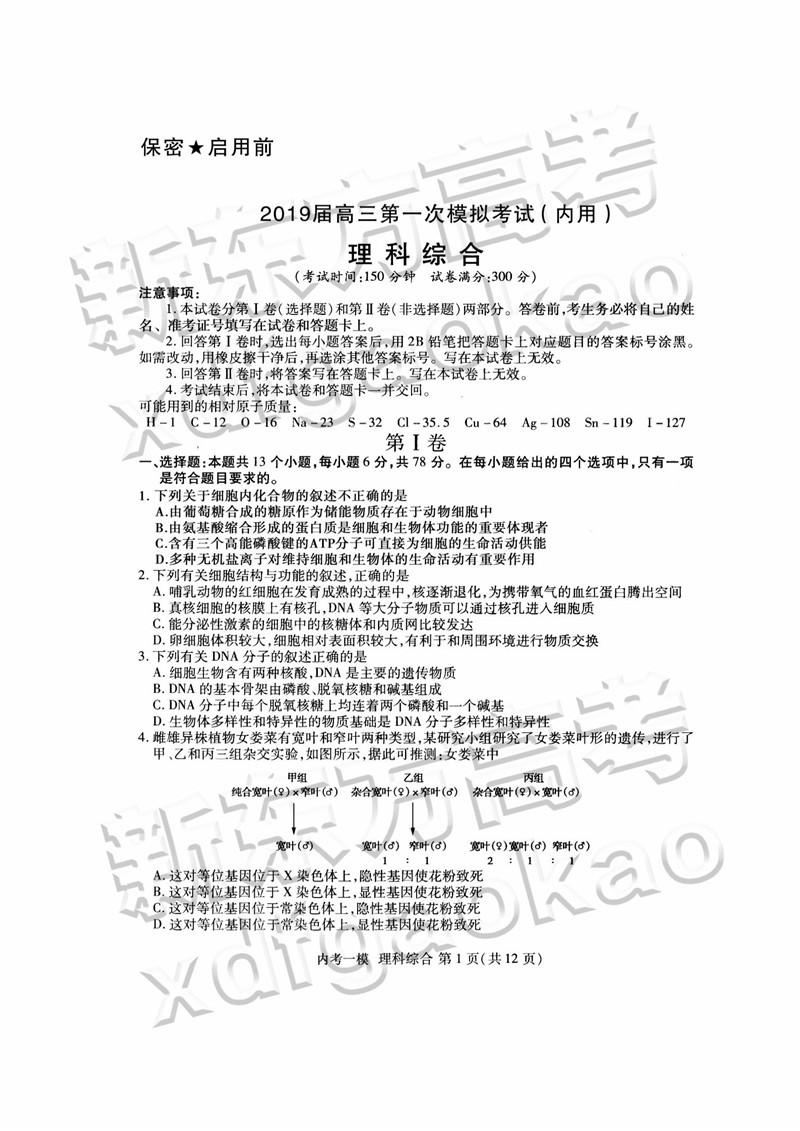 2019哈三中高三一模(内考)理综试卷及参考答案