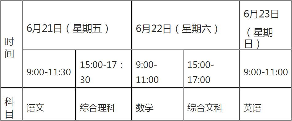 2019黔东南中考科目及时间:6月21至6月23日