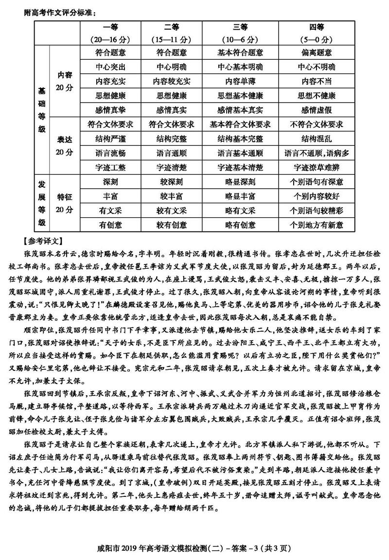 2019咸阳二模高三语文试卷及参考答案 标注答案